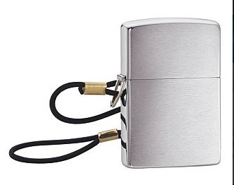 275 LOSSPROOF W/LOOP & LANYARD BRUSHED CHROME ZIPPO LIGHTER