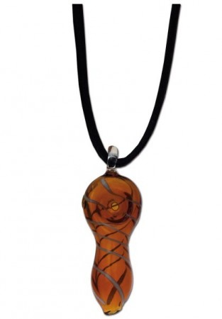 Glass Pendant Hand-Pipe amber with stripes